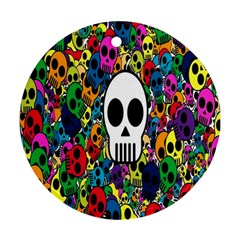 Skull Background Bright Multi Colored Ornament (round) by Simbadda