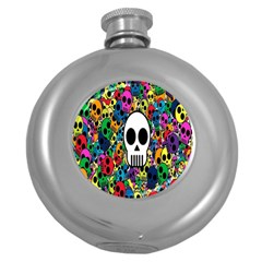 Skull Background Bright Multi Colored Round Hip Flask (5 Oz) by Simbadda