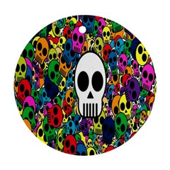 Skull Background Bright Multi Colored Round Ornament (two Sides) by Simbadda
