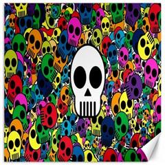 Skull Background Bright Multi Colored Canvas 12  X 12   by Simbadda