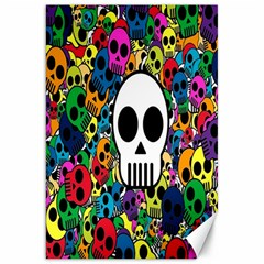 Skull Background Bright Multi Colored Canvas 20  X 30   by Simbadda