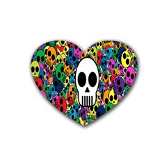 Skull Background Bright Multi Colored Rubber Coaster (heart)  by Simbadda
