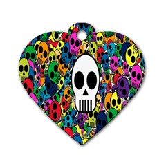 Skull Background Bright Multi Colored Dog Tag Heart (two Sides) by Simbadda