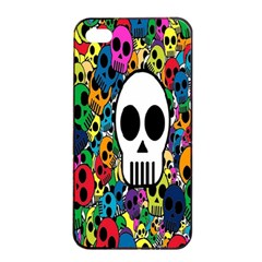 Skull Background Bright Multi Colored Apple Iphone 4/4s Seamless Case (black) by Simbadda