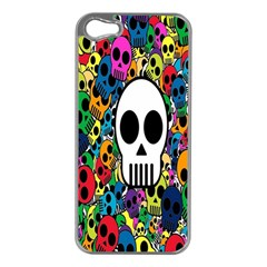 Skull Background Bright Multi Colored Apple Iphone 5 Case (silver) by Simbadda
