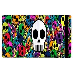 Skull Background Bright Multi Colored Apple Ipad 2 Flip Case by Simbadda