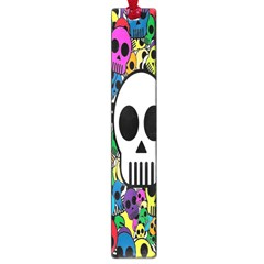 Skull Background Bright Multi Colored Large Book Marks by Simbadda