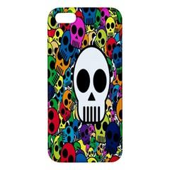 Skull Background Bright Multi Colored Iphone 5s/ Se Premium Hardshell Case by Simbadda