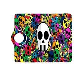 Skull Background Bright Multi Colored Kindle Fire Hdx 8 9  Flip 360 Case by Simbadda