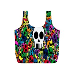 Skull Background Bright Multi Colored Full Print Recycle Bags (s)  by Simbadda