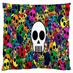 Skull Background Bright Multi Colored Standard Flano Cushion Case (two Sides) by Simbadda