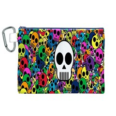 Skull Background Bright Multi Colored Canvas Cosmetic Bag (xl) by Simbadda
