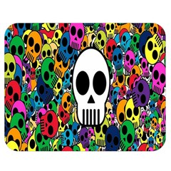 Skull Background Bright Multi Colored Double Sided Flano Blanket (medium)  by Simbadda