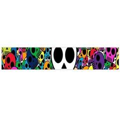 Skull Background Bright Multi Colored Flano Scarf (large) by Simbadda