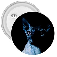 Blue Sphynx Cat 3  Buttons by Valentinaart