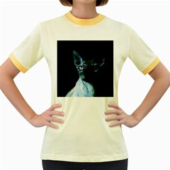 Blue Sphynx Cat Women s Fitted Ringer T Shirts by Valentinaart