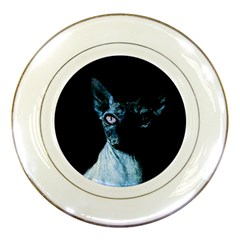 Blue Sphynx Cat Porcelain Plates by Valentinaart