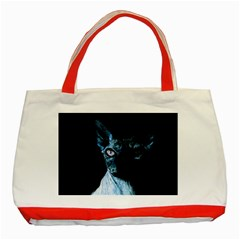 Blue Sphynx Cat Classic Tote Bag (red) by Valentinaart