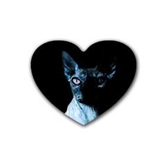 Blue Sphynx Cat Rubber Coaster (heart)  by Valentinaart
