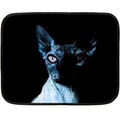 Blue Sphynx Cat Double Sided Fleece Blanket (mini)  by Valentinaart