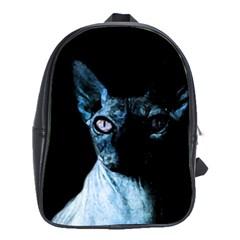 Blue Sphynx Cat School Bags(large)  by Valentinaart