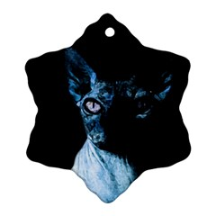 Blue Sphynx Cat Snowflake Ornament (two Sides) by Valentinaart