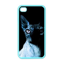 Blue Sphynx Cat Apple Iphone 4 Case (color) by Valentinaart