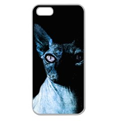 Blue Sphynx Cat Apple Seamless Iphone 5 Case (clear) by Valentinaart