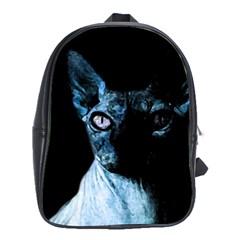 Blue Sphynx Cat School Bags (xl)  by Valentinaart