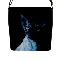 Blue Sphynx Cat Flap Messenger Bag (l)  by Valentinaart
