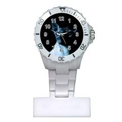 Blue Sphynx Cat Plastic Nurses Watch by Valentinaart