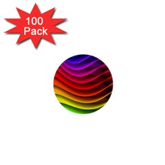 Spectrum Rainbow Background Surface Stripes Texture Waves 1  Mini Buttons (100 Pack)  by Simbadda