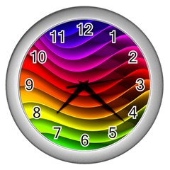 Spectrum Rainbow Background Surface Stripes Texture Waves Wall Clocks (silver)  by Simbadda