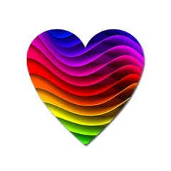 Spectrum Rainbow Background Surface Stripes Texture Waves Heart Magnet by Simbadda