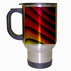 Spectrum Rainbow Background Surface Stripes Texture Waves Travel Mug (silver Gray) by Simbadda