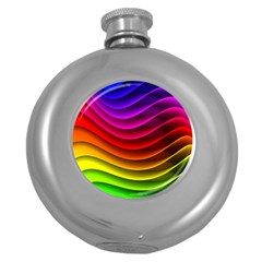 Spectrum Rainbow Background Surface Stripes Texture Waves Round Hip Flask (5 Oz) by Simbadda