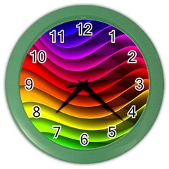 Spectrum Rainbow Background Surface Stripes Texture Waves Color Wall Clocks by Simbadda