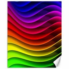 Spectrum Rainbow Background Surface Stripes Texture Waves Canvas 11  X 14   by Simbadda