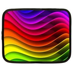 Spectrum Rainbow Background Surface Stripes Texture Waves Netbook Case (large) by Simbadda