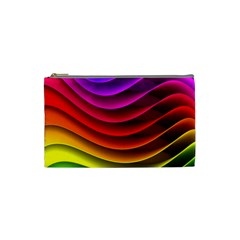 Spectrum Rainbow Background Surface Stripes Texture Waves Cosmetic Bag (small)  by Simbadda