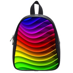 Spectrum Rainbow Background Surface Stripes Texture Waves School Bags (small)  by Simbadda