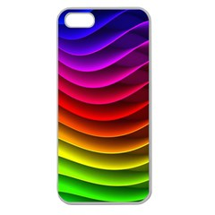 Spectrum Rainbow Background Surface Stripes Texture Waves Apple Seamless Iphone 5 Case (clear) by Simbadda