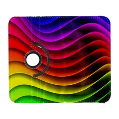 Spectrum Rainbow Background Surface Stripes Texture Waves Galaxy S3 (flip/folio) by Simbadda