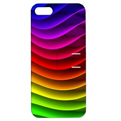 Spectrum Rainbow Background Surface Stripes Texture Waves Apple Iphone 5 Hardshell Case With Stand by Simbadda
