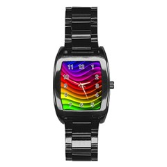 Spectrum Rainbow Background Surface Stripes Texture Waves Stainless Steel Barrel Watch by Simbadda