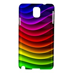Spectrum Rainbow Background Surface Stripes Texture Waves Samsung Galaxy Note 3 N9005 Hardshell Case by Simbadda