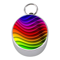 Spectrum Rainbow Background Surface Stripes Texture Waves Mini Silver Compasses by Simbadda