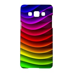 Spectrum Rainbow Background Surface Stripes Texture Waves Samsung Galaxy A5 Hardshell Case  by Simbadda