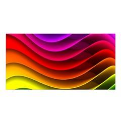 Spectrum Rainbow Background Surface Stripes Texture Waves Satin Shawl by Simbadda