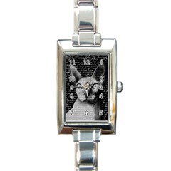 Sphynx Cat Rectangle Italian Charm Watch by Valentinaart